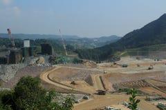 Construction du barrage Photographie stock