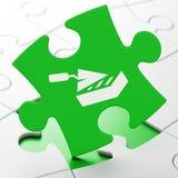 Construction du concept : Mur de briques sur le fond de puzzle illustration libre de droits