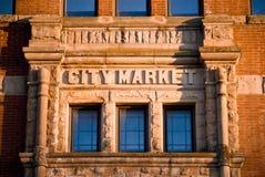 Construction du marché de ville de brique image stock