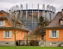 Construction du Parlement à Strasbourg, France, UE Photographie stock
