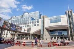 Construction du Parlement européen à Bruxelles Photographie stock