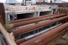 Construction du Roi Willem-Alexandertunnel Image libre de droits
