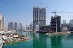 Construction in dubai. Buildings under construction, Dubai, UAE royalty free stock images
