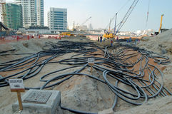 Construction in Dubai. Cables at a construction site in Dubai royalty free stock images