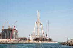 Construction of Dubai Eye, the world`s largest in Dubai, UAE Royalty Free Stock Photos