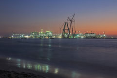 Construction in Dubai at night Stock Image