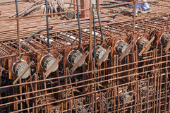 Construction in Dubai. Reinforcement at bridge construction, Dubai, UAE Royalty Free Stock Photo