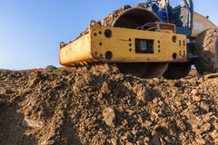 Construction Earthworks Compactor Machine Closeup Royalty Free Stock Image