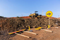 Construction Earthworks Compactor Machine Landscape Royalty Free Stock Image