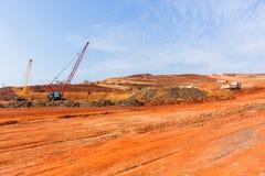 Construction Earthworks Cranes Trucks Landscape stock images