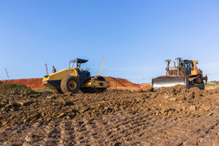 Construction Earthworks Mover Compactor Machines Closeup Stock Image