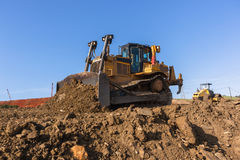 Construction Earthworks Mover Compactor Machines Closeup Stock Photography