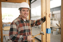 Construction Electrician Installing Box Royalty Free Stock Images