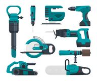 Construction electro tools for repair. Vector pictures in flat style. Screwdriver and equipment drill and power saw electric illustration royalty free illustration