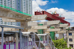 Construction of an elevated commuter train Royalty Free Stock Photos