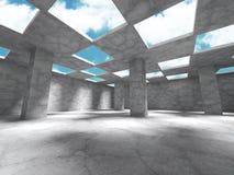 Construction en béton abstraite d'architecture sur le fond de ciel Photos stock