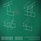 construction en métal 3D Les faisceaux et les colonnes Couverture, fond pour des inscriptions Image libre de droits