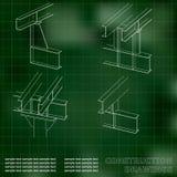 construction en métal 3D Les faisceaux et les colonnes Couverture, fond pour des inscriptions Photo libre de droits