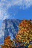 Construction en verre et automne Image stock