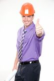 Construction engineer. Gesturing thumb up sign Stock Image