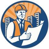 Construction Engineer Architect Foreman Retro Royalty Free Stock Photography