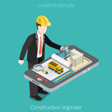 Construction engineer, architect. Male worker over. Tablet scheme construct site crane. Flat 3d isometry isometric style web site app icon set concept vector Royalty Free Stock Photo