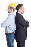 Construction engineer and business man back to back. Construction engineer and business men back to back on white background Royalty Free Stock Image