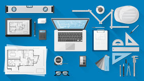 Construction engineer desk Stock Images