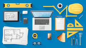 Construction engineer desk Royalty Free Stock Photo