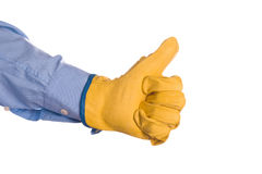 Construction Engineer Gesturing Thumbs Up for Approval Stock Photo
