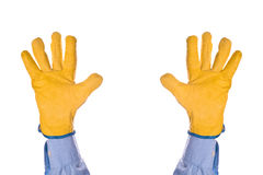 Construction Engineer Giving Up, Hand Raised in the Air Royalty Free Stock Image