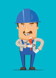 Construction engineer and human worker smiling on a job illustration royalty free illustration