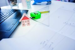 Construction engineer office table Stock Photo