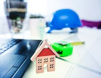 Construction engineer office table Royalty Free Stock Photography