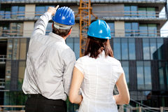 Construction engineer pointing Stock Photo