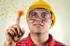 Construction engineer with touch screen Stock Photography