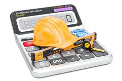 Construction and engineering concept. Hard hat with spirit level. Calculator and measuring tape. 3D rendering isolated on white background Royalty Free Stock Photo