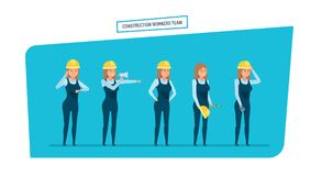 Construction engineers workers team. Work with documents, archives, projects. Stock Images