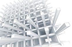 Construction entretoisée blanche moderne sur le blanc Images libres de droits