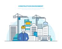 Construction environment. Control for process building home. Building construction, engineering. Construction environment. Control for process building home Royalty Free Stock Photo