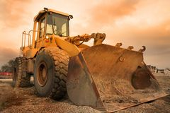 Construction equipment. With colourful sky background Stock Photo
