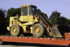 Construction Equipment Bulldozer on Trailer Stock Photography