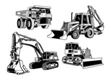 Free Construction Equipment Collection In Black And White Royalty Free Stock Photos - 164785618