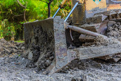 Construction equipment. Digger, old heavy duty construction equipment, industrial series Stock Image