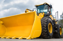 Construction Equipment. Front loader closeup outdoors Royalty Free Stock Image