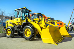Construction Equipment. Front loader closeup outdoors Royalty Free Stock Images