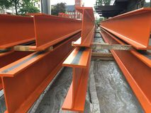 Steel girders and beams. Construction equipment: Girders, steel beams Stock Photos