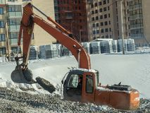 Construction equipment on the construction of a house Stock Image