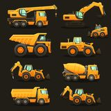 Construction equipment set. Construction equipment - isolated vector illustrations set. Construction machinery Royalty Free Stock Images