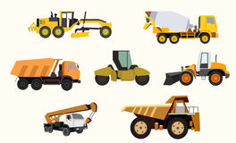 Construction equipment. And machinery with trucks crane and bulldozer bright yellow abstract isolated vector illustration Stock Photos